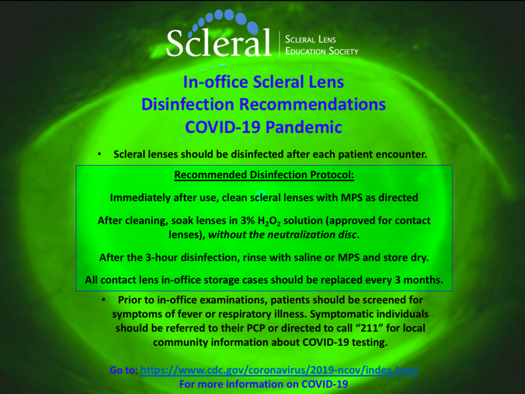 COVID-19 Reminders for Scleral Lens In-Office Disinfection